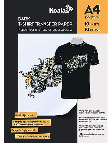 0d3a2a89 KOALA Inkjet Iron On T Shirt Transfer Paper for Dark Fabrics x 10 Sheets, A4