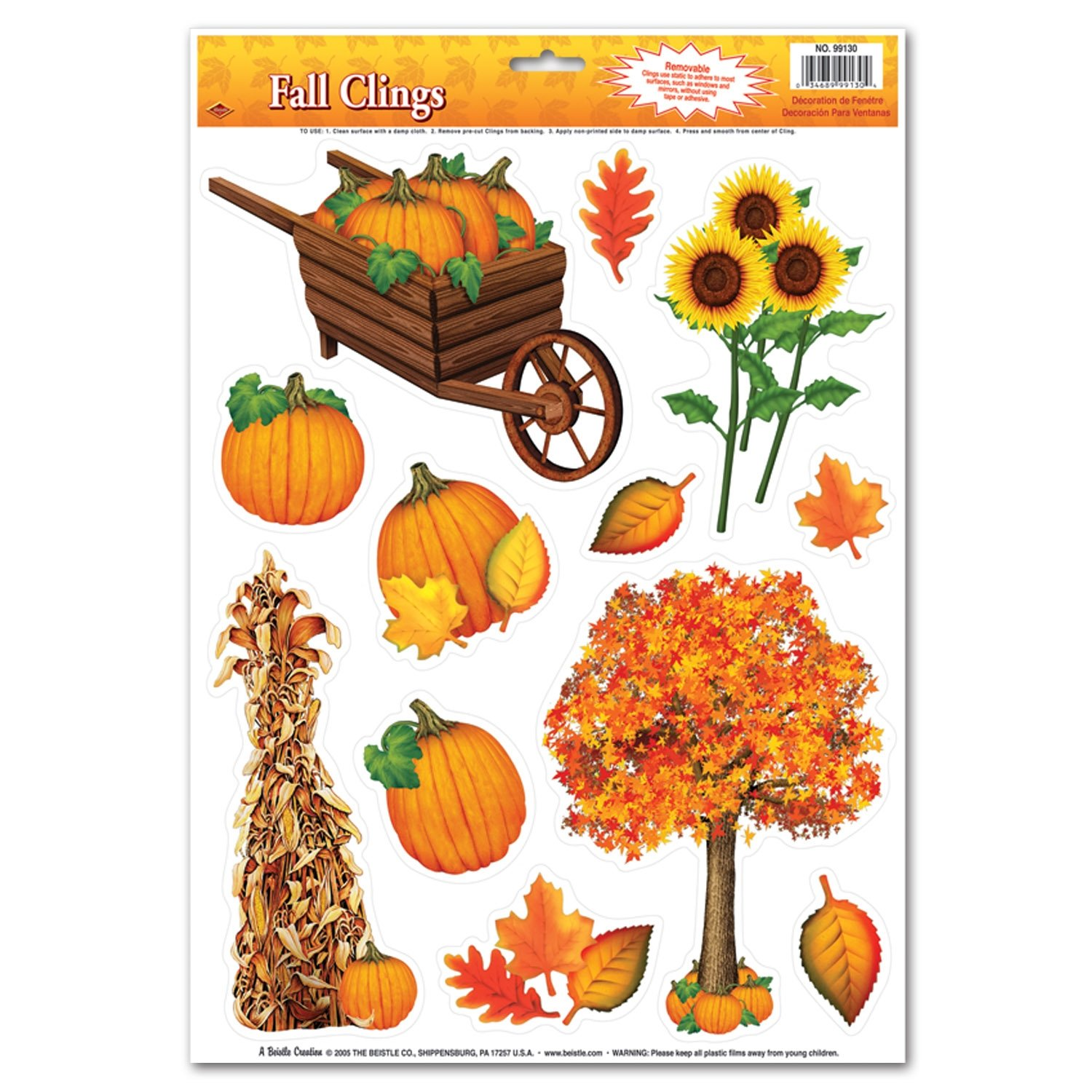 Fall Clings Party Accessory (1 count) (12/Sh)