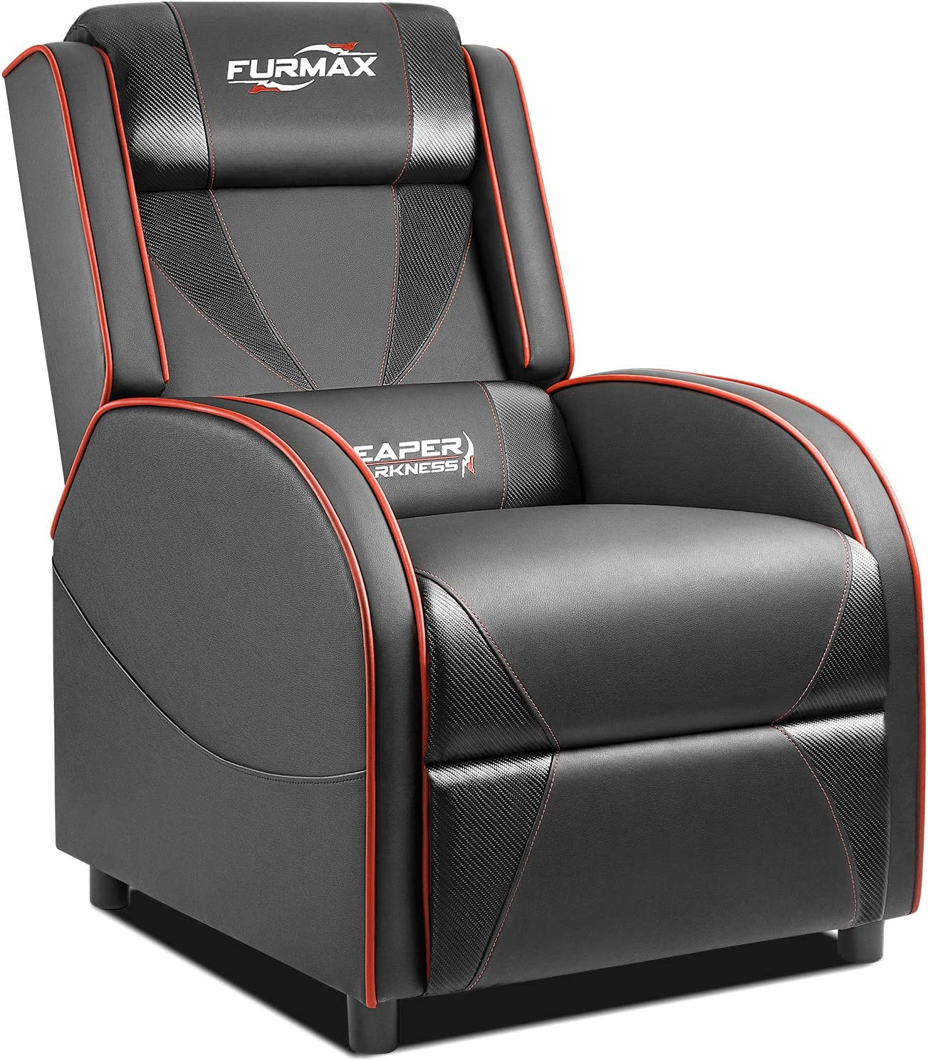 Furmax Gaming Recliner Chair Racing Style Single Ergonomic Lounge Sofa PU Leather Reclining Home Theater Seat for Living Room (Black)