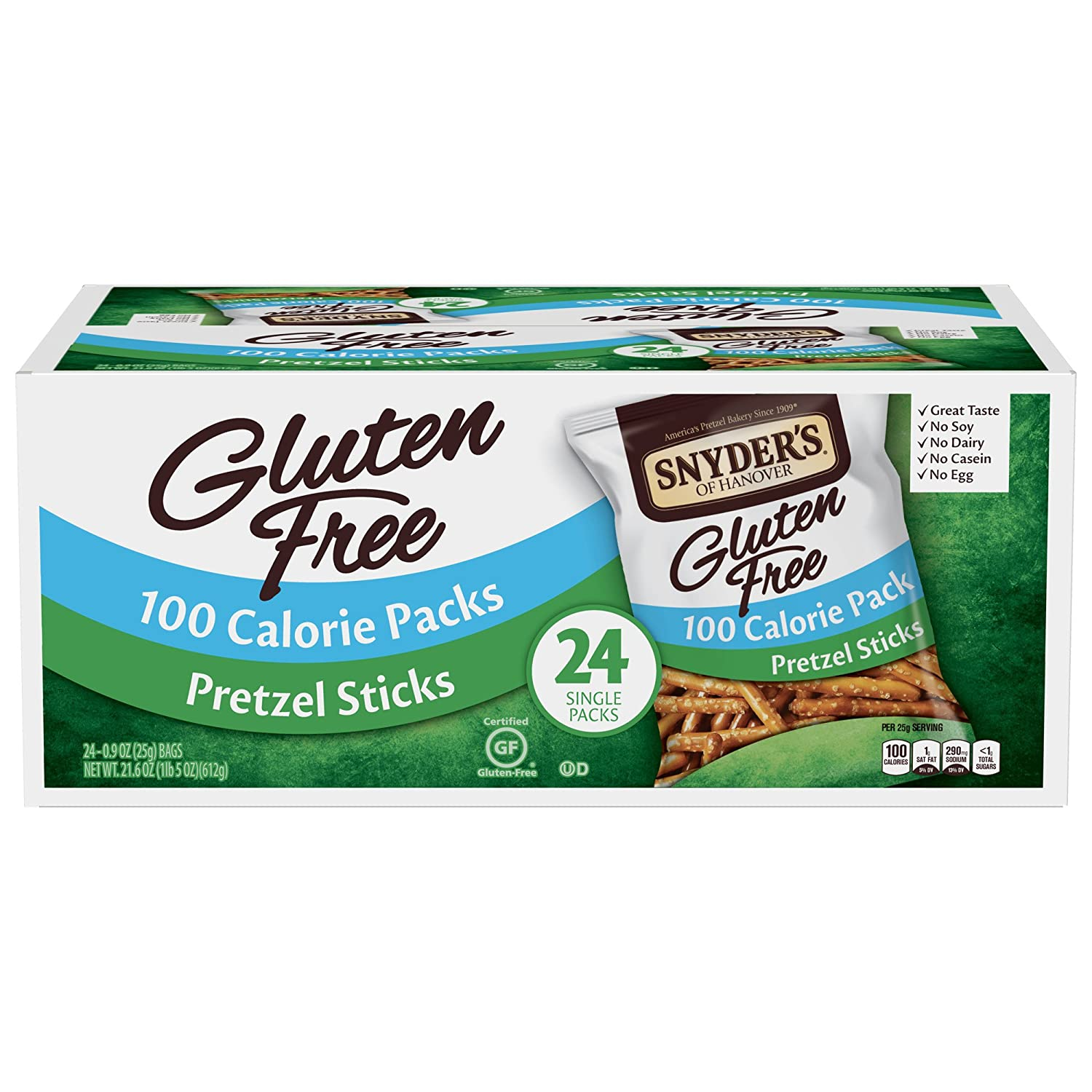 Snyder's of Hanover Gluten Free Pretzel Sticks, 100 Calorie Individual Packs, 24 Count