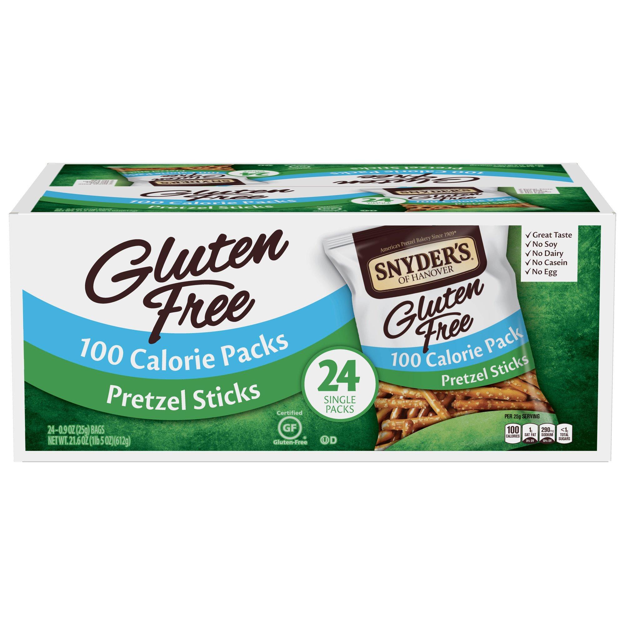 Snyder's of Hanover Gluten Free Pretzel Sticks 100 Calorie Packs, 24 Count