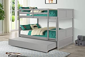 Hanway Bunk Beds Full Over Full Size – Trundle Bed Twin – Premium Pine Wood Bunk Bed with Trundle – Sturdy Modern Bed Frame – Ideal for Kids' Room, Guest Bedroom