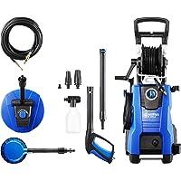 Nilfisk 128471191 Hidrolimpiadora 145 Bares con Motor de inducción (Incluye Patios, Cepillo Giratorio y Limpiador para desagües), 2100 W, 230 V, Azul