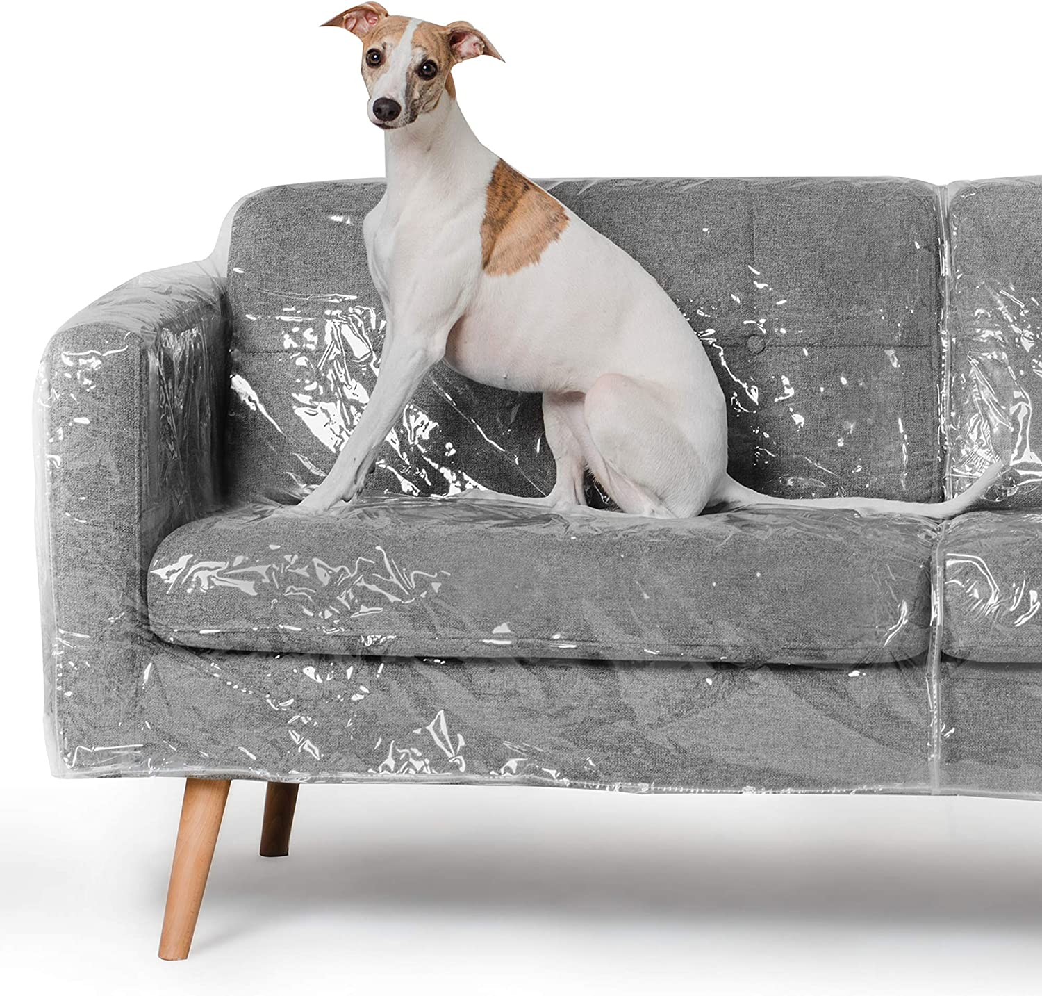 Better Than Plastic Slipcover, Vinyl Sofa Protector - 96' Waterproof Pet Furniture Covers for Cats & Dogs - Scratch & Stain - XL Clear Leather Couch Protective Slip Bag (96 W x 40 D 42 BH x 18 FH)