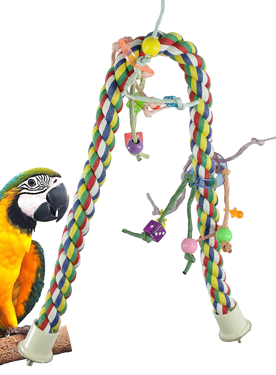 Bonka Bird Toys Large Huge Medium Rope Charm Perch Bird Toy Parrot Cage Toys Cages  Cockatoo Caique Macaw