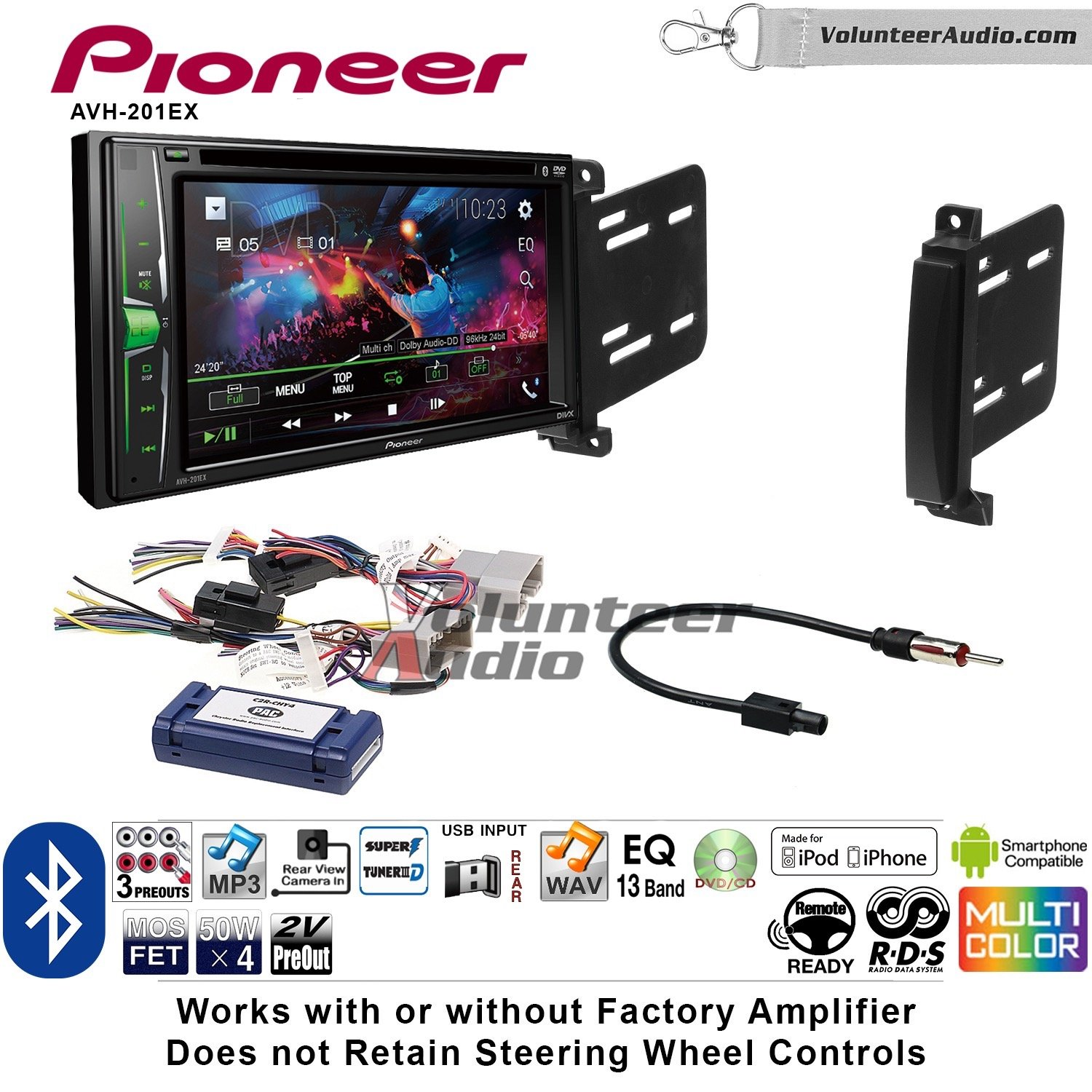 Pioneer AVH-201EX Double Din Radio Install Kit with CD Player Bluetooth USB/AUX Fits 2011-2013 Dodge Durango, Jeep Grand Cherokee by Volunteer Audio (Image #1)