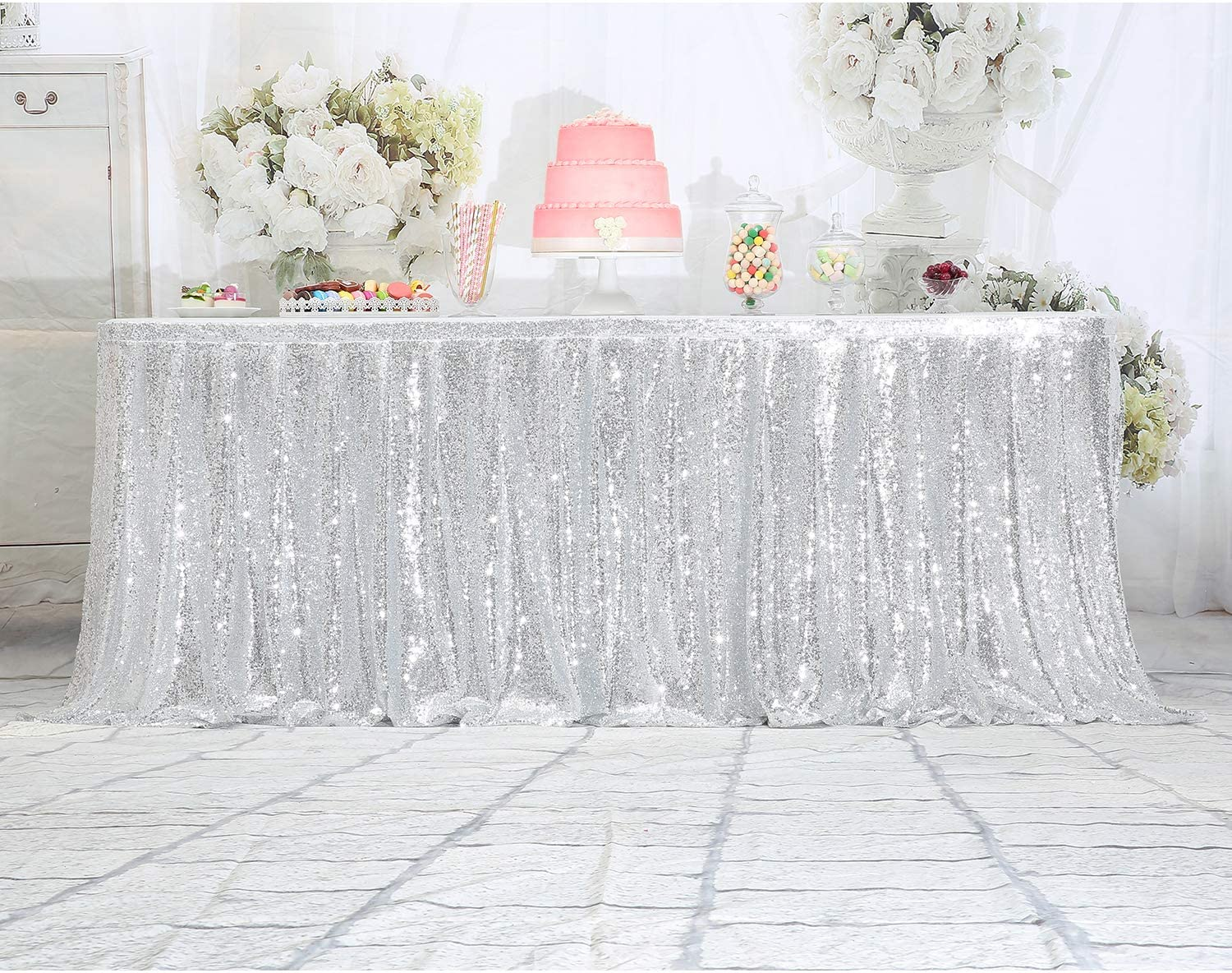* H 30in) ft Eternal Beauty Sequin Table Skirt Rectangle Round Table Cover for Party Wedding Baby Shower Decoration(Amber Gold,L 6