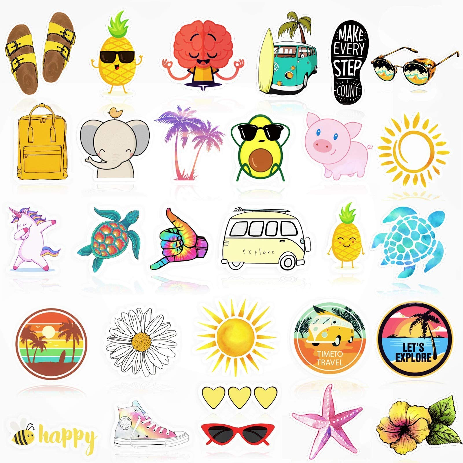 VSCO Water Bottle Stickers, Cute Waterproof Vinyl Stickers for Teens and Girls.Unique Cool Durable Decal Stickers, Aesthetic and Trendy 30 Pack Stickers for Water Bottles, Laptop, Phone.
