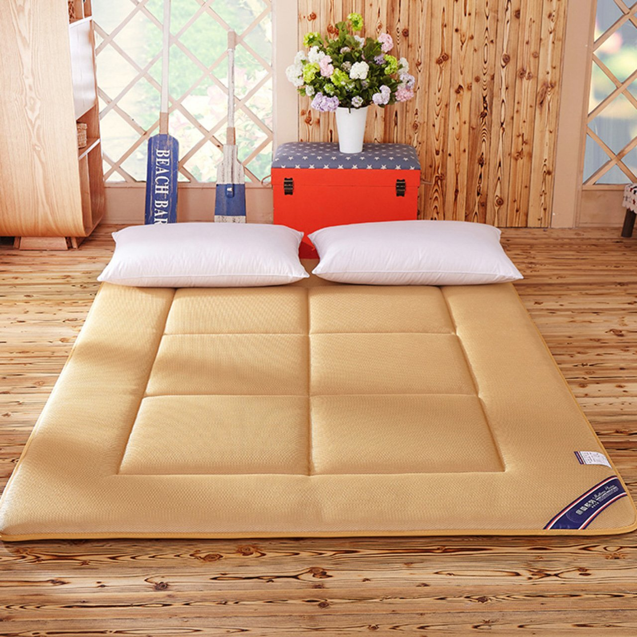 Yellow star Quilted foldable cushion mats,Tatami mattress student dorm futon mattress topper portable sleeping pad thin bed protection pad washable-B 135x200cm(53x79inch)