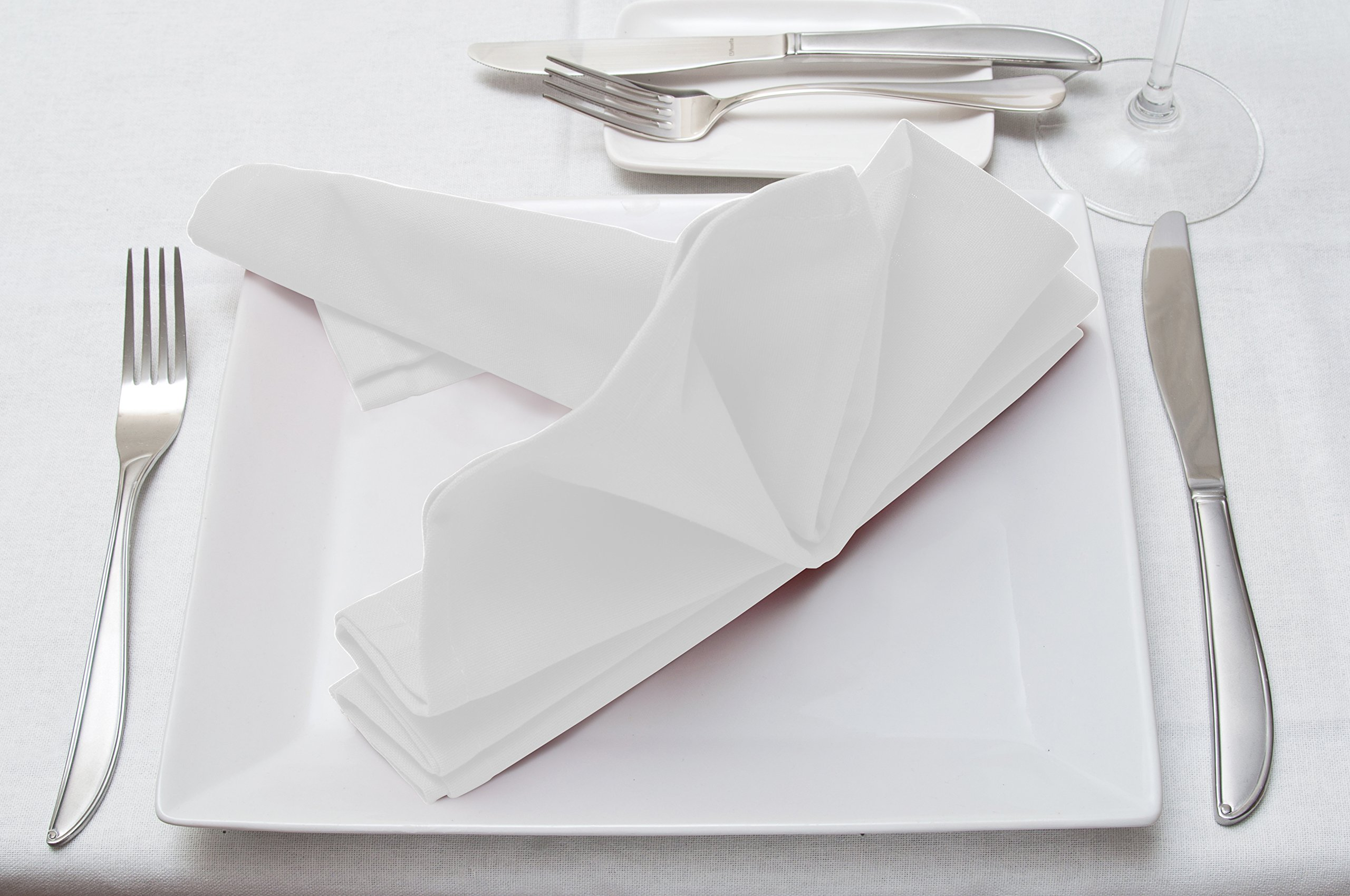 Cotton Dinner Napkins White - 12 Pack (18 inches x18 inches) Soft and Comfortable - Durable Hotel Quality - Ideal for Events and Regular Home Use - by Utopia Bedding by Utopia Bedding (Image #3)