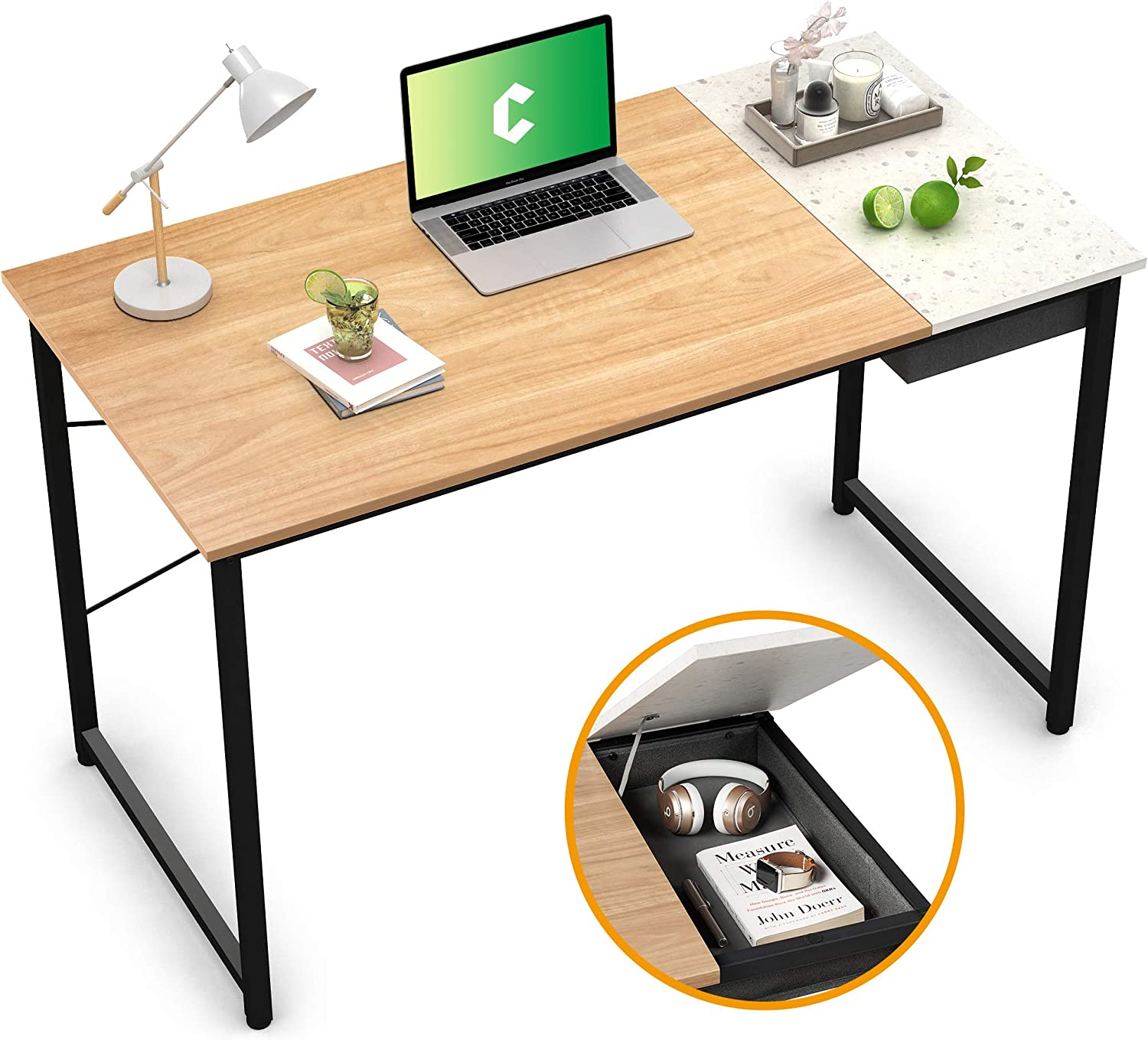 """Cubiker Writing Computer Desk 39"""" Home Office Study Laptop Table, Modern Simple Style Desk with Drawer, Natural Terrazzo"""