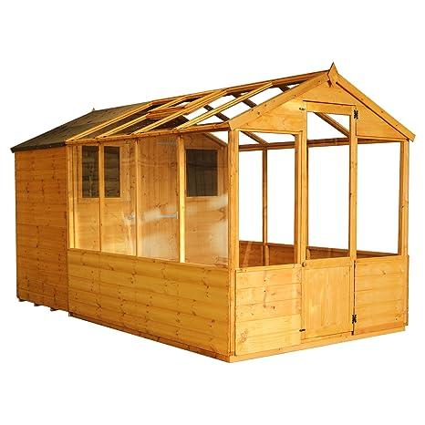 Invernadero de madera con cobertizo, ventana, puerta única, estireno machihembrado; techo a