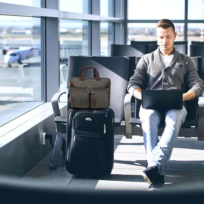 TECOOL Sac /à Dos Ordinateur Portable Convertible Toile Messenger Sac /à bandouli/ère Multifonctionnel Briefcase Sac /à Main Convient 15.6 inch Laptop pour Homme//Femme///Étudiants Canavs Gris