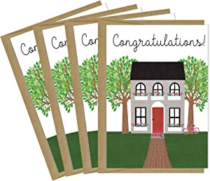 Tiny Expressions New Home Congratulations Greeting Cards with Inside Message and Kraft Envelopes (4 Cards)