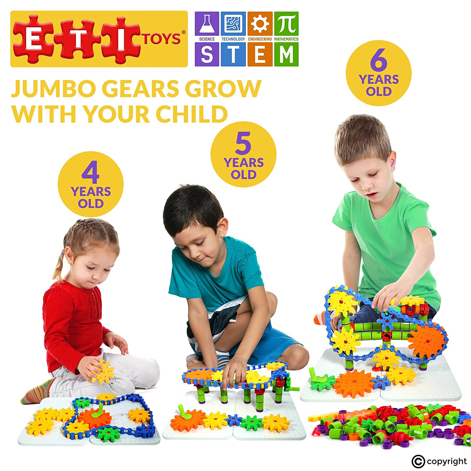 Amazon ETI Toys Jumbo Gears Kit for Boys and Girls