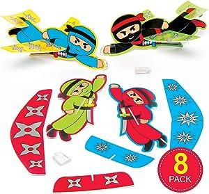 Baker Ross Ninja Gliders for Children (Pack of 8) Fun Party Bag Stuffer Loot Gifts for Kids