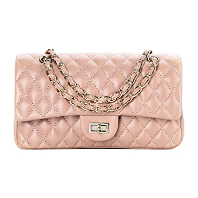 37db27b7177c SanMario Designer Handbags Lambskin Classic Quilted Grained Double Flap  Gold Tone Metal Chain Women's Crossbody Shoulder