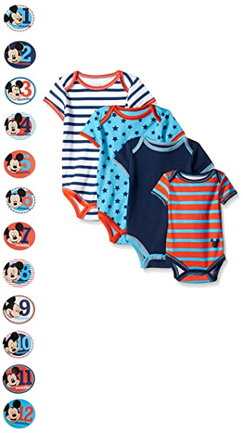 177e61fb6 Amazon.com: Disney Baby-Boys Grow with Me Bodysuits with 12 Monthly Mickey  Stickers, Blue, Newborn-12 Months (Pack of 4): Clothing