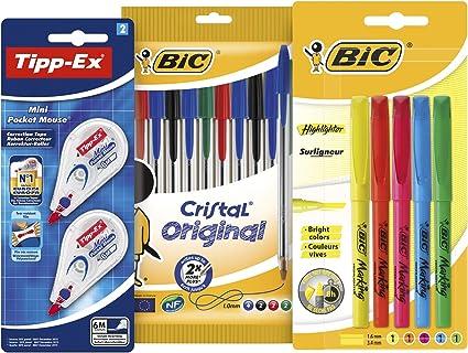BIC y Tipp-Ex Set Vuelta al Cole de 10 bolígrafos, 5 Marcadores ...