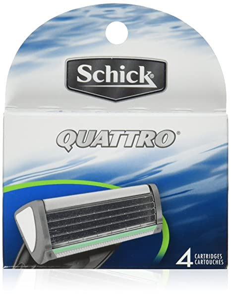 Schick Quattro Refill Cartridges, 4 Cartridges Shaving, Waxing & Beard Care at amazon