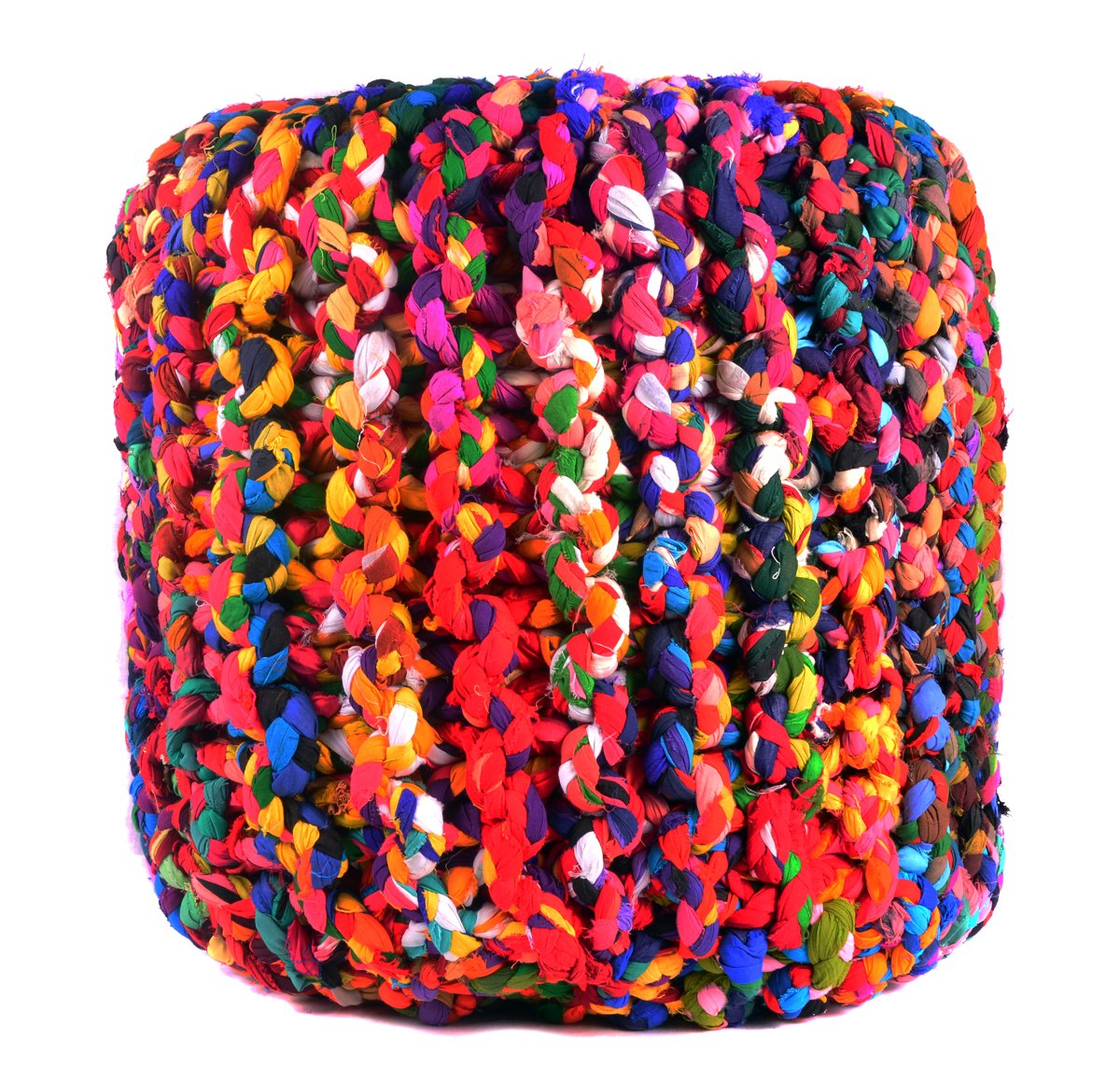 Pouf Ottoman Multicolor Cylindrical Shape Hand Knitted ottoman Cotton Floor Comfortable Seat Footstool 19''x 20'' By MystiqueDecors