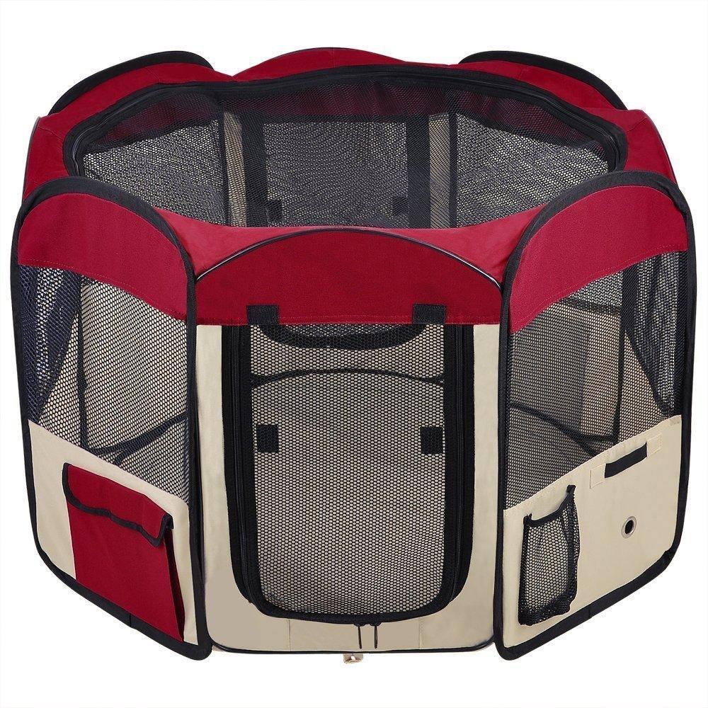 Pettom Parc Enclos à Chiot Chien Chaton Chat Lapin Cage Pliable Portable Facile à Installer Monter Usage Intérieur Extérieur Parfait pour Chiens Jouer dans la Jardin - Rouge PE-4852250