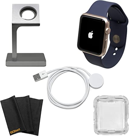 Apple Watch Series 1 Smartwatch Plus Charging Stand, Extra Charging Cable and Clear Fitted Protective Case (42mm, Rose Gold Aluminum Case, Midnight ...