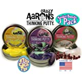 """Crazy Aaron's Thinking Putty Mini Tins """"Easter Bloom"""" Hypercolor, """"Bunny Ears"""" Glow in the Dark & """"Cheep! Cheep!"""" Simply Brilliant Easter Basket Bundle - 3 Pack"""