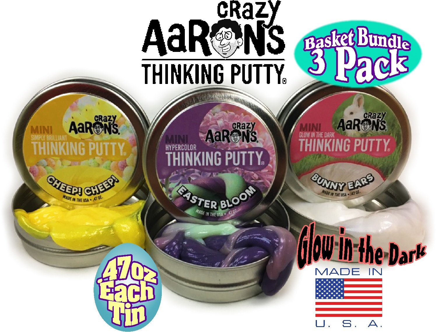 Crazy Aaron's Thinking Putty Mini Tins ''Easter Bloom'' Hypercolor, ''Bunny Ears'' Glow in the Dark & ''Cheep! Cheep!'' Simply Brilliant Easter Basket Bundle - 3 Pack by Crazy Aaron's
