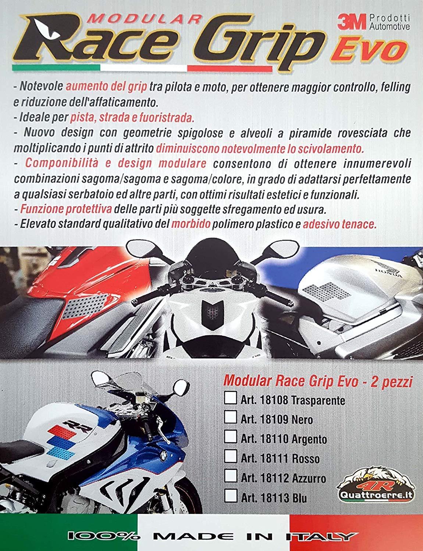 Set di 2 Quattroerre 18109 Protezione Serbatoio Antiscivolo Moto Laterale Race Grip Evo