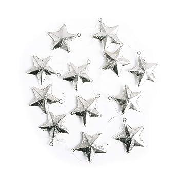 Amazon De 12 Kleine Silber Farbene Sterne Anhanger 4 Cm Metall