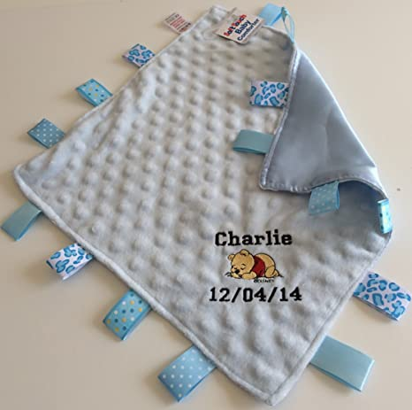 Personalised Taggy Blanket Comforter Taggie Blanket Pink Blue Boy Girl Gift