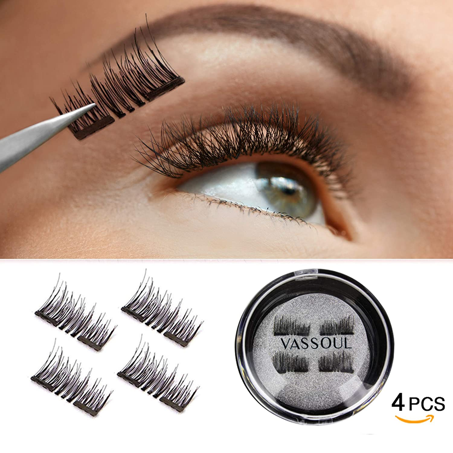 12a516ac81d Amazon.com: VASSOUL Dual Magnetic Eyelashes-0.2mm Ultra Thin Magnet- Lightweight & Easy to Wear-Best 3D Reusable Eyelashes Extensions: Beauty