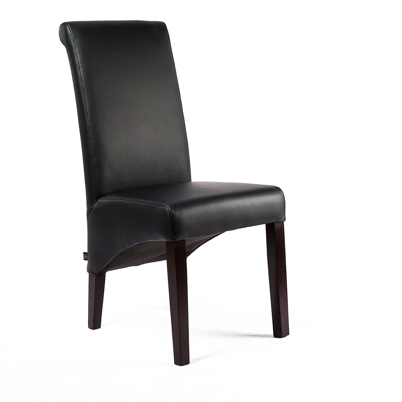 Lederstuhl Felice Rindsleder Schwarz Wenge Lederstühle Stuhl Stühle Polsterstuhl