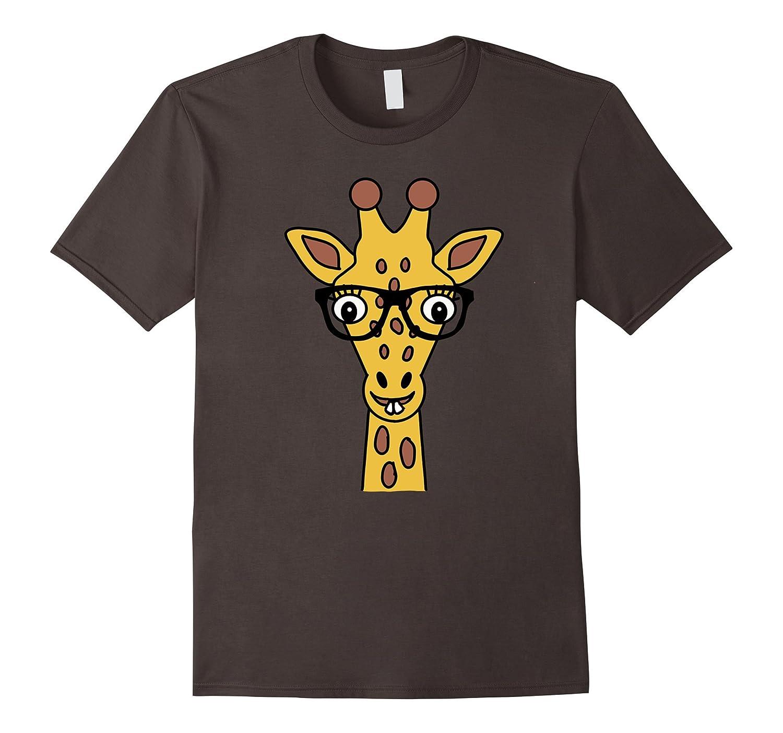 Giraffe Nerd With Glasses Emoji T-shirt by Animal Face Shirt