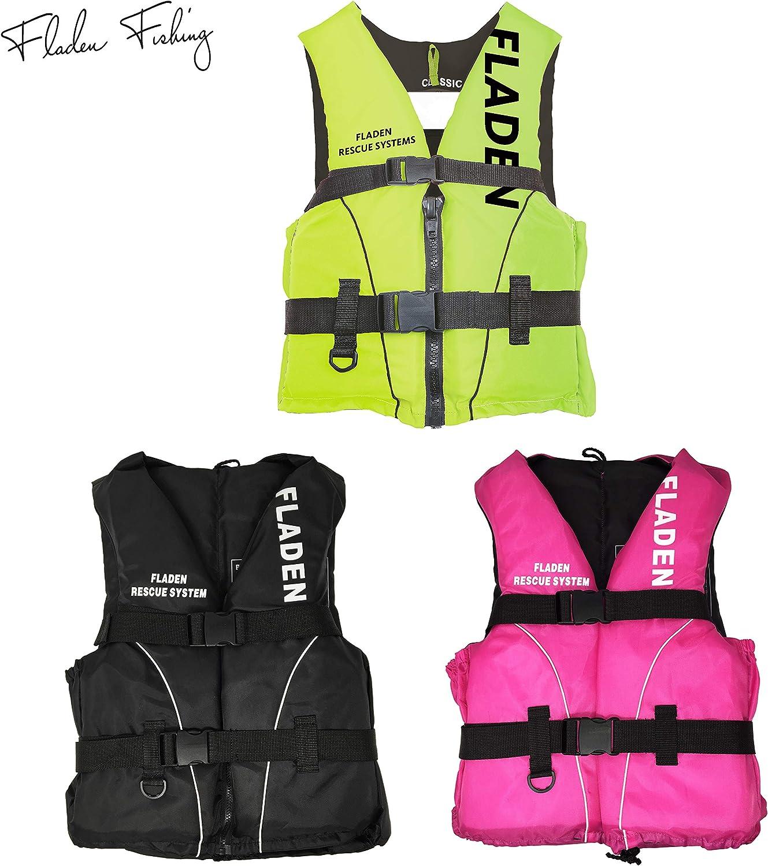 Fladen Fishing Rescue System Schwimmweste//Rettungsweste Kinder /& Erwachsene Schwarz//Gr/ün//Pink