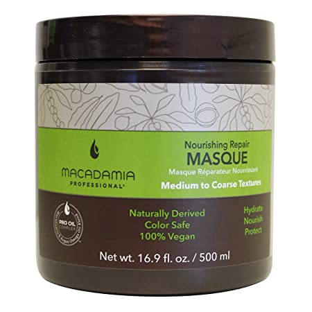 Macadamia Professional Nourishing Repair Masque – Replenishes Moisture, Strengthens and Improves Elasticity – Color-Safe, Cruelty-Free and 100 Vegan – 16.9 fl. Oz.
