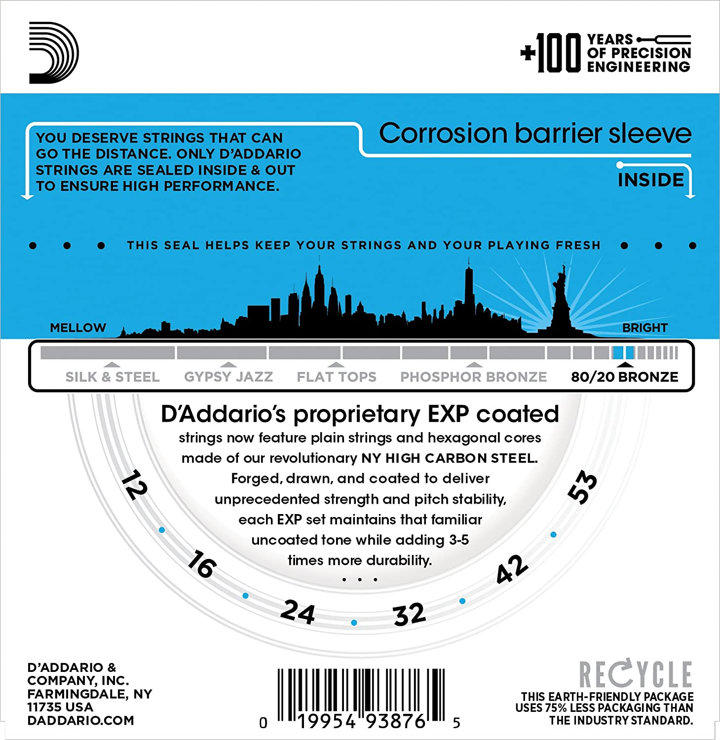 D'Addario EXP11 Coated 80/20 Light 12-53 Acoustic Guitar Strings  (Multicolor)