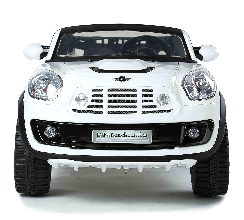 MINI Beachcomber Blanco, Los niños del coche, los niños del coche eléctrico, coche niños, 2x motor, batería de 12 V, con mando a distancia