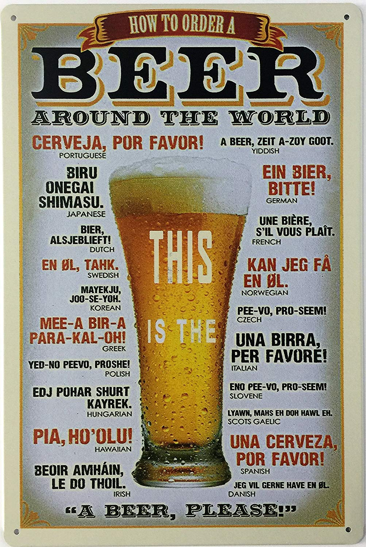 Classic Beer Wine Retro Vintage Bar Metal Tin Sign Poster Style Wall Art Pub Bar Club Wall Decor12 X8 (Como pedir uma) Rebecca online