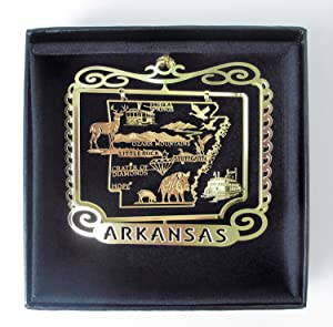 Arkansas State Brass Ornament Black Leatherette Gift Box