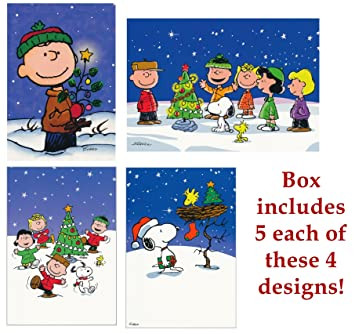 box of 20 christmas greeting cards peanuts snoopy charlie brown christmas schulz
