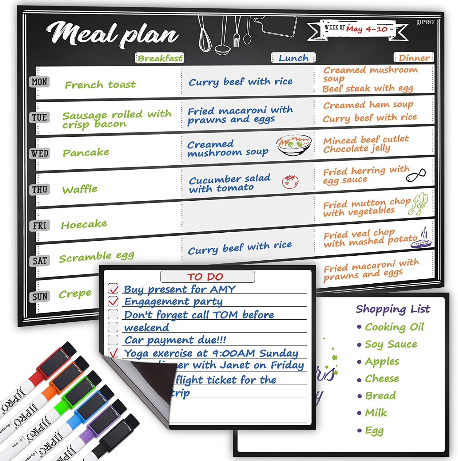 Magnetic Meal Planning Whiteboard - 14.5x11