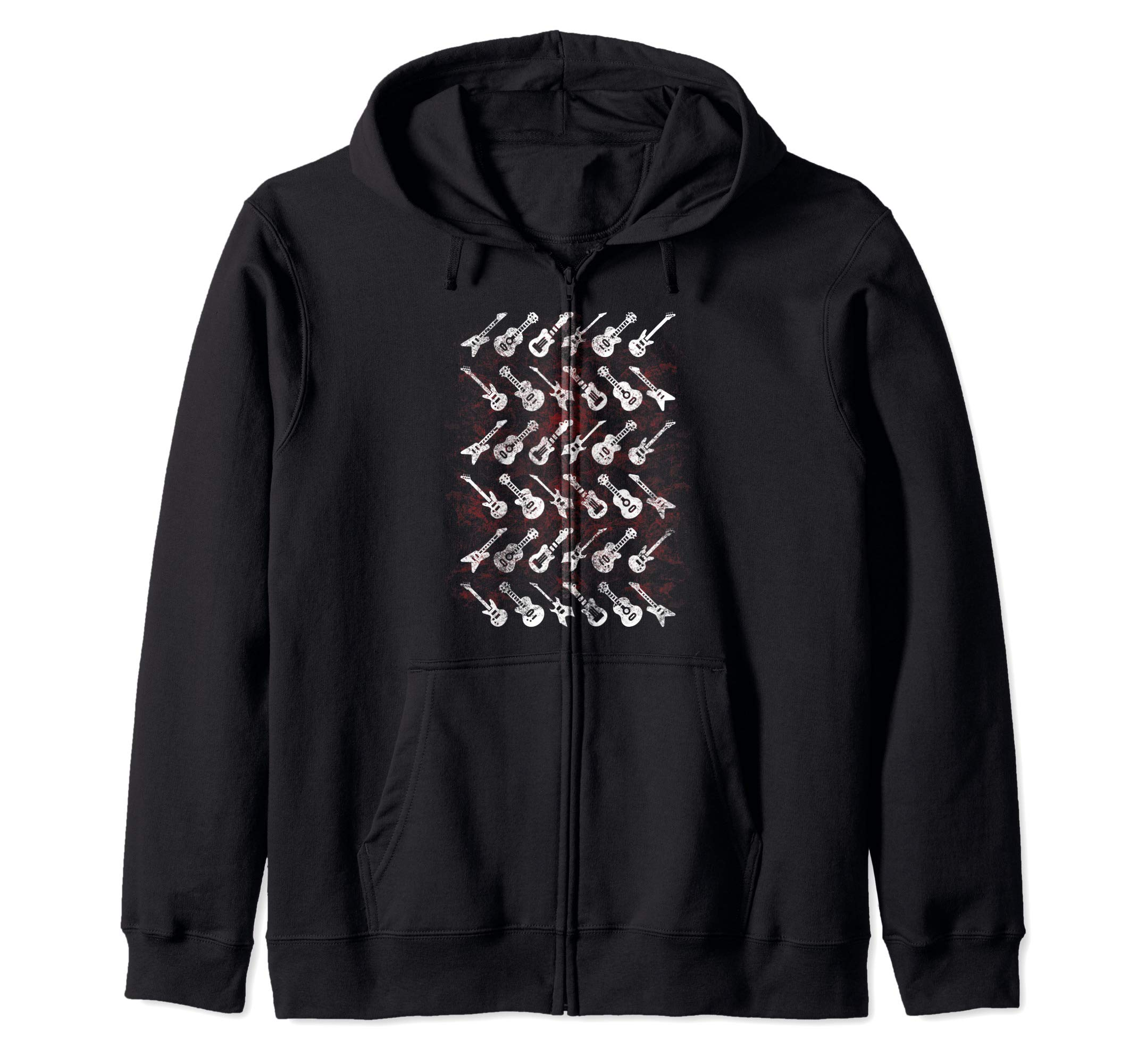 Guitars Types Bass Classic Star Acoustic Rock Gift Zip Hoodie by UAB KIDKIS