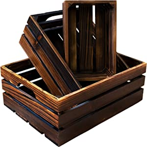 EZDC Wooden Crates Set of 3, Nesting Wood Storage Boxes, Modern Aesthetic Decorative Wood Boxes with Wall Mounts and Cutout Handles