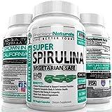 Spirulina 180 Veggie Capsules/Pills - 3000mg/Serving - 500mg/tablet Best Complete Green Algae Protein Grown In California (Earthrise) Not Hawaiian Pacifica