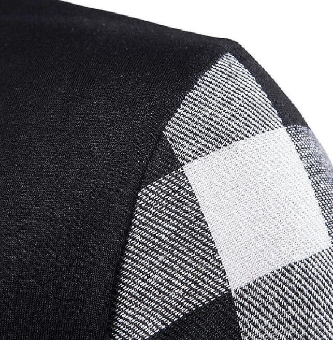 Esast Men Casual Short Sleeve Polo Shirts Slim Fit Zipper Plaid Polo T Shirts