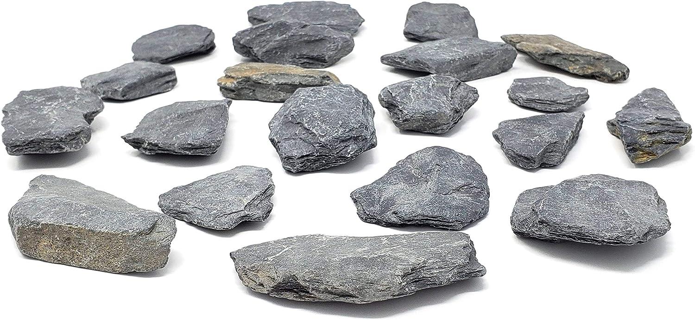 Capcouriers Slate Stones (Slate Rocks) - Natural Slate Rocks - 1 to 2.5 inches - About 14 to 17 Rocks (Stones are Dusty)