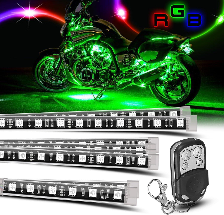 TASWK Motorcycle ATV 8 Strip RGB LED Kit Remote Controller Multi Color Neo Light Glow for Honda Kawasaki Suzuki Ducati Polaris KTM BMW