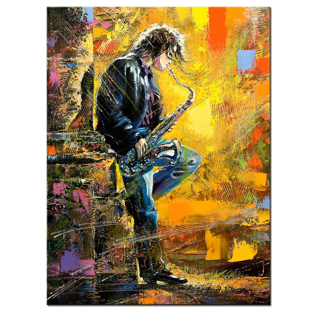 Amazon.com: Sea Charm - Music Canvas Wall Art, Young Guy Playing the ...